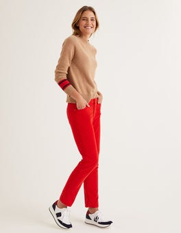 Post Box Red Cord Slim Straight Jeans