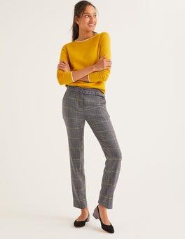 Navy, Yellow Overcheck Malden Tweed Trousers