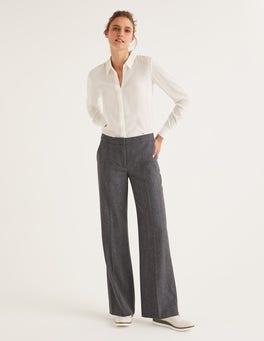 Dark Grey Herringbone British Tweed Pants