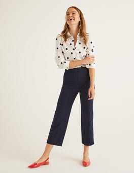 Navy Brampton Cropped Trousers