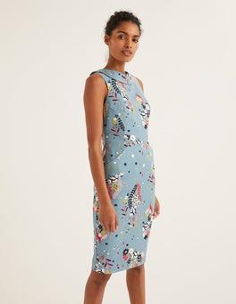 Mittelblau, SkurrilMartha Kleid mit Ziernaht