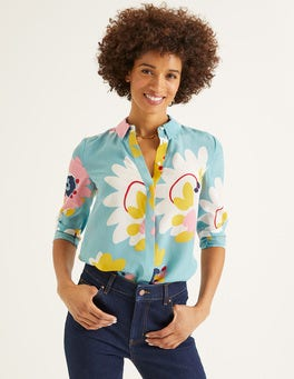 Heritage Blue Painted Daisy The Silk Shirt