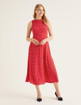 Post Box Red Ditsy Petal Clarissa Midi Dress