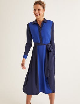 Französisches Navy/Blau, Wellen Betty Midi-Hemdblusenkleid