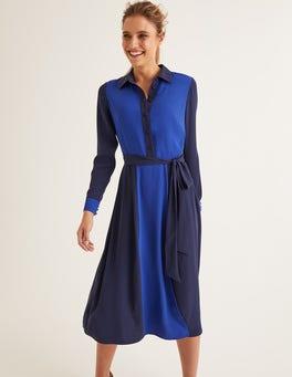Bleu marine français/vague bleue Robe-chemise midi Betty