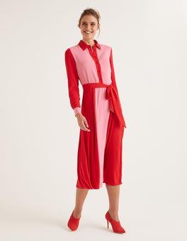 Farbstiftrosa/Signalrot Betty Midi-Hemdblusenkleid