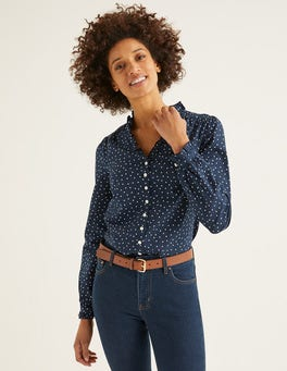 Navy, Polka Dot Medium Pippa Blouse