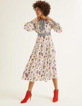 Ivory, Whimsical Bird Thelma Midi Dress