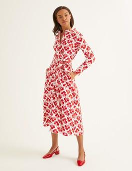 Post Box Red, Petal Sprig Isodora Midi Shirt Dress