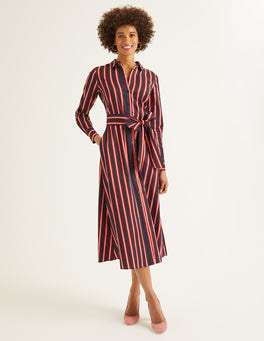 French Navy Stripe Isodora Midi Shirt Dress