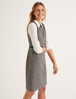 Grau, Fischgrätmuster Carrie Tweed-Kleid