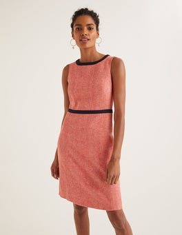 Orange Herringbone Carrie Tweed Dress