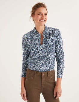 Bleu tradition, motif léopard chic Chemise Faye