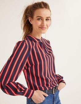 French Navy Stripe Gabriella Silk Blouse