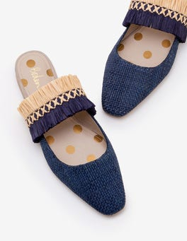 Navy Rosa Mules
