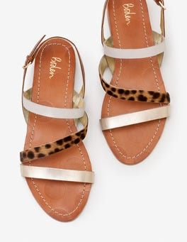 Gold Metallic and Tan Leopard Bronwen Sandals