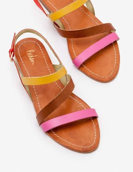 Tickled Pink and Tan Bronwen Sandals