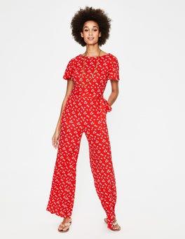 Knalliges Rot, Gänseblümchenwolken Camille Ponte-Jumpsuit