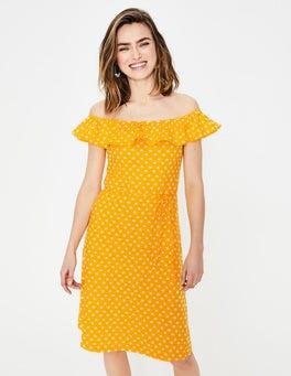 Fröhliches Gelb, Sterntupfen Bethany Jerseykleid
