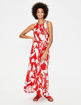 Red Pop Jungle Vine Delphine Jersey Maxi Dress