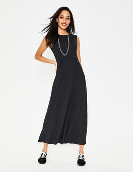Black Polly Jersey Midi Dress