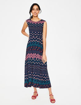 Navy Floral Field Polly Jersey Midi Dress