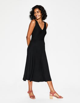 Black Octavia Jersey Midi Dress