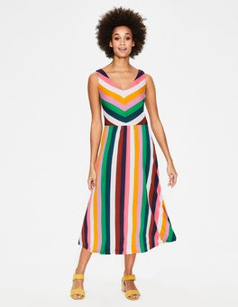 Multi Stripe Octavia Jersey Midi Dress