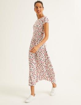 Ivory Blossom Vine Alda Jersey Midi Dress
