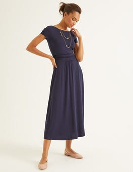 Navy Alda Jersey Midi Dress