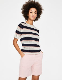 Ivory, Navy and Pink Stripe Corrina Knitted Tee