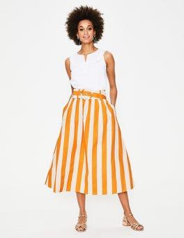 Yellow Ochre and Ivory Stripe Rebecca Midi Skirt