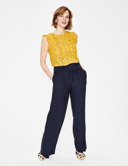 Navy Carrick Wide Leg Trousers