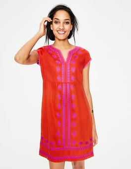 Red Pop Bea Linen Embroidered Dress