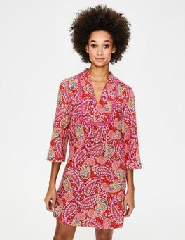 Red Pop. Mexican Paisley Evangeline Linen Tunic