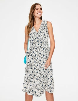 Ivory Spotty Bloom Nancy Linen Midi Dress