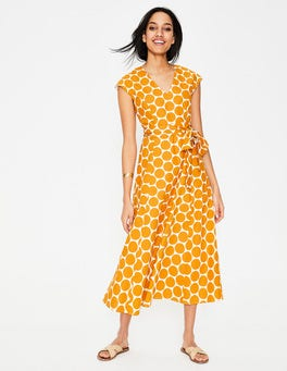 Ivory & Yellow Brand Spot Tori Midi Dress