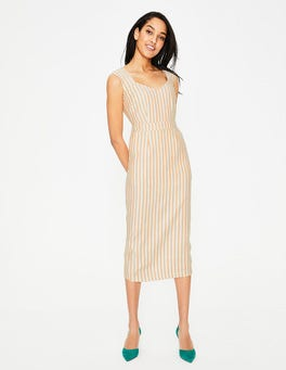 Yellow Ochre Stripe Frances Midi Dress