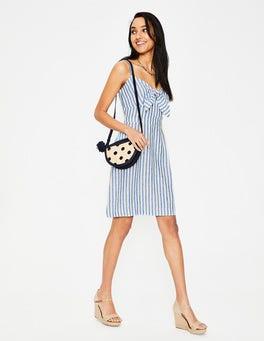 Ivory & Cyan Stripe Julia Linen Dress