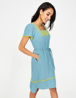 Heron Blue Bernadette Embroidered Dress