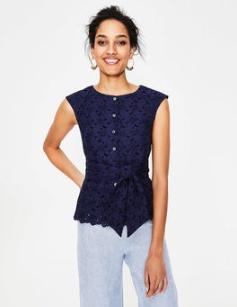 Navy Claudette Broderie Top