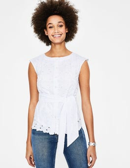 White Claudette Broderie Top