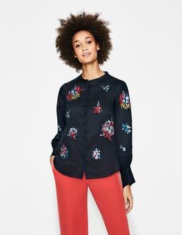 Navy Claudia Embroidered Blouse