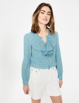 Heron Blue Leah Embroidered Blouse