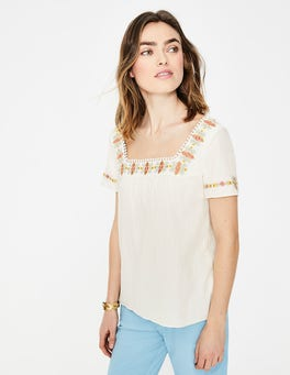 Ivory Clemmie Embroidered Top