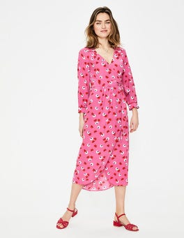 Tickled Pink Daisy Cloud Floris Wrap Dress