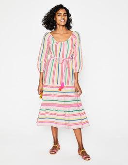 Rainbow Fluoro Stripe Cordelia Midi Dress