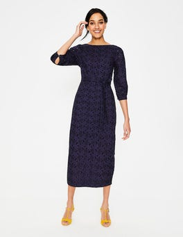 Navy Claudette Broderie Midi Dress