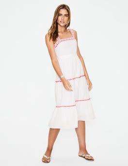 White Estella Embroidered Midi Dress