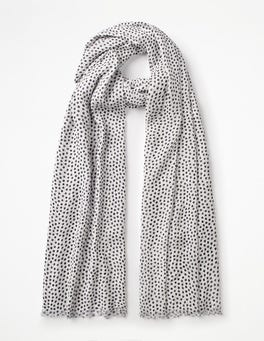 Ivory and Navy Printed Scarf